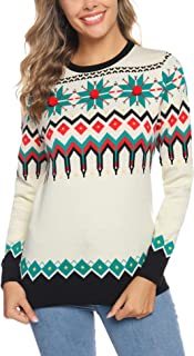 Women Ugly Christmas Knit Sweater Pullover Geometric Snowflake Pattern Long Sleeve Jumper Tops