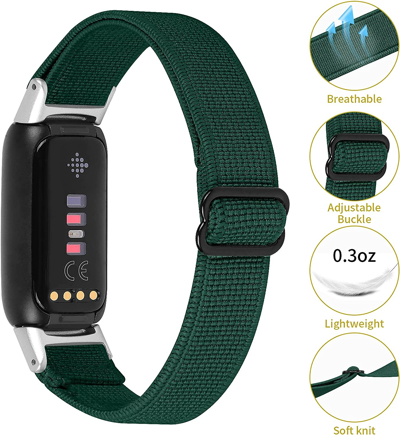 Mtozon Adjustable Elastic Bands Compatible with Fitbit Luxe, Replacement Stretchy Nylon Loop Skin-Friendly Strap Soft Wristbands for Women Men