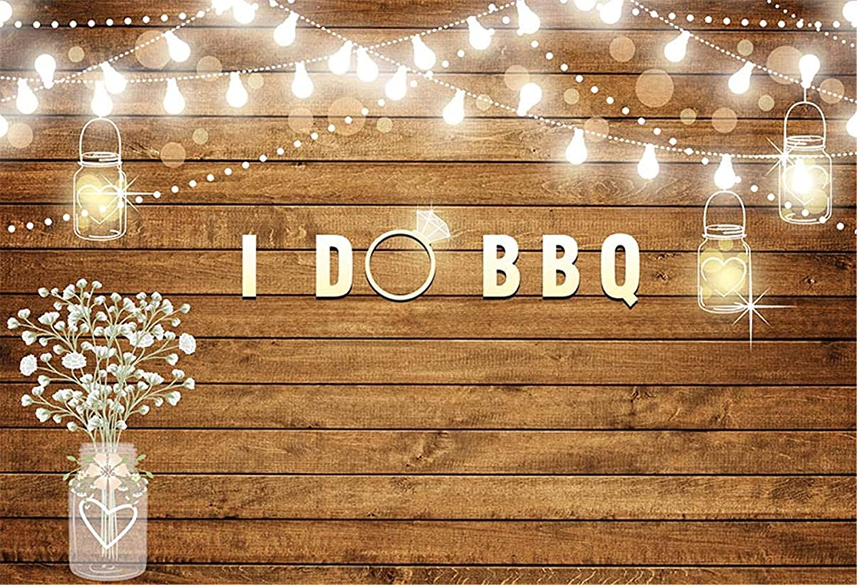 I Do BBQ Backdrop for Photography 5x7 Seamless Vinyl Background Engagement Party Rustic Wooden Floor Lighting Diamond Rings for Wedding Photocall