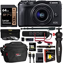 Canon EOS M6 Mark II Mirrorless Camera with Viewfinder, EF-M 15-45mm Lens (Black) CN3611C011 with Lexar 64GB Video U3 Memory Card, Rode Video Mic, Tripod, Memory Card Reader and Camera Bag Bundle