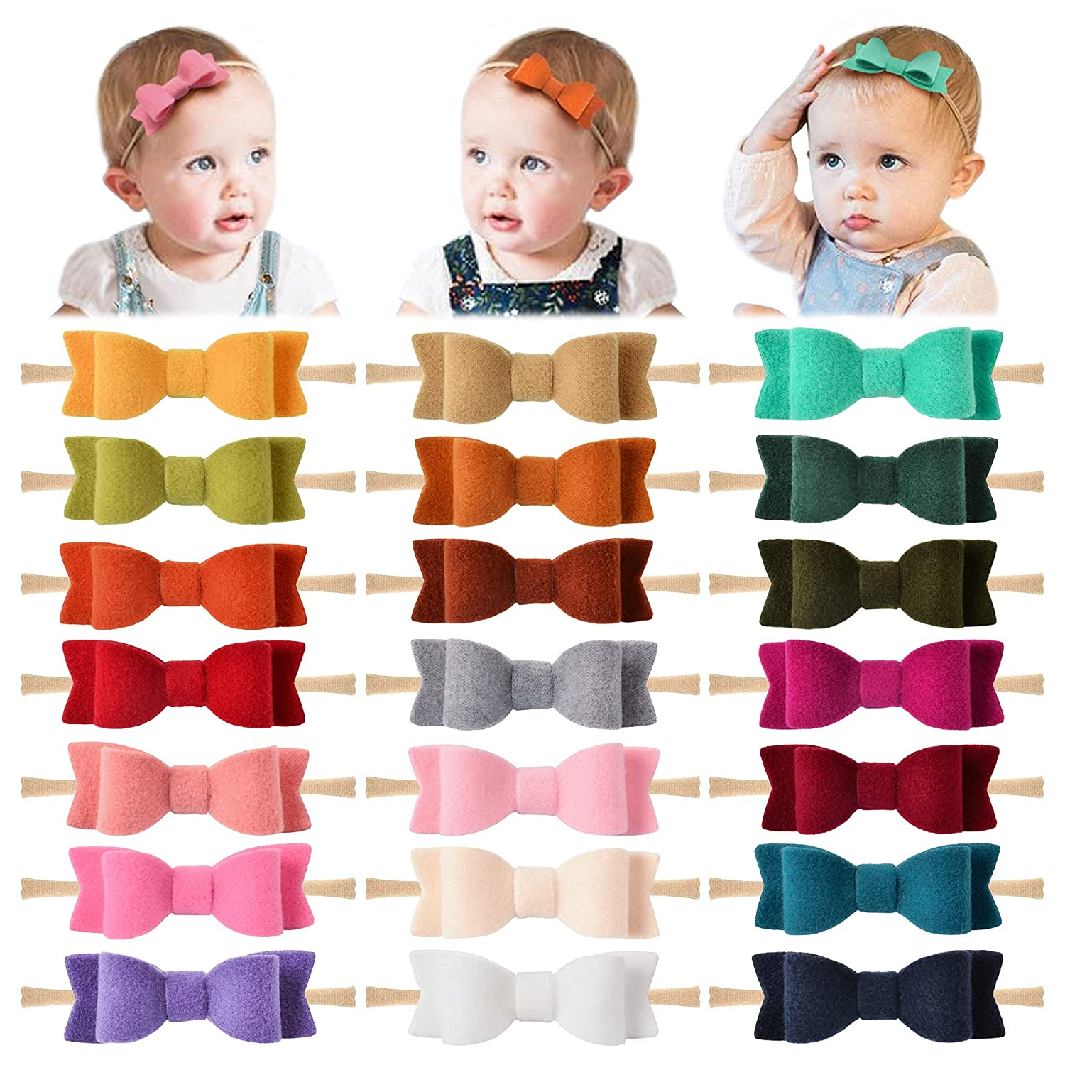 21 PCS Baby Girl Headbands and Bows, Newborn Infant Toddler Nylon Hairbands Hair Accessories