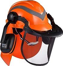 SAFEYEAR Pro bosbouw kettingzaag veiligheidshelm met verstelbare 27SNR oorkappen, mesh vizier. M-5009OR EN397 Goedgekeurde...