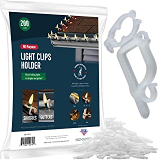 SEWANTA All-Purpose Light Clips Holder - Set of 200 Christmas light hooks - Mount holiday lights to shingles and gutters - works with Rope, Mini, c-7-6-9, icicle lights - USA made - No tools required