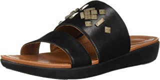 FitFlop Women's Delta Leather Slide Sandals-Crystal