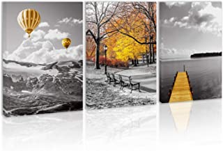 Black and White Yellow Hot Air Balloons Mountain Wall Art Decor Autumn in The Park Forest Canvas Painting Kitchen Road Pier On Lake Prints Pictures for Home Living Dining Room