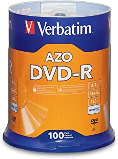 Verbatim 4.7GB up to 16x Recordable Disc DVD-R 100-Disc Spindle 95102,Silver