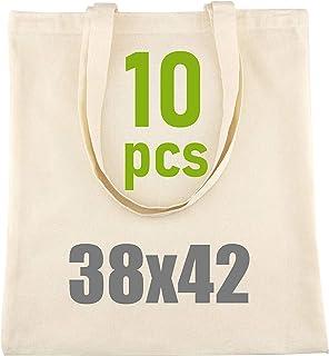 D.RECT - Lot de 10 Sacs en Coton Naturel avec Long Manche |38x42 cm,100% Coton |Sac à provisions |Sacs en toile de jute |S...