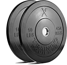 X Training Equipment Premium Black Bumper Plate Solid Rubber with Steel Insert - Great for Crossfit Workouts