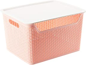 Citylife L-7137 Weave Basket W Lid, 368x298x224mm, 24L, Pink