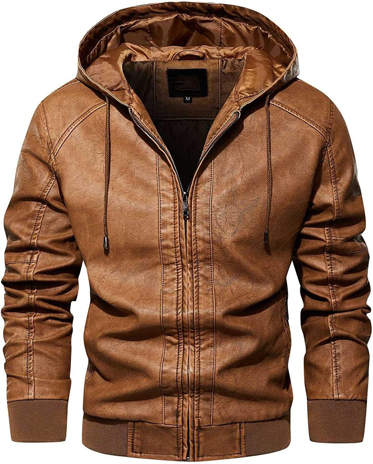 Stoota Men's Casual Stand Collar Faux PU Leather Zip-Up Motorcycle Bomber Hooded Asymmetric Jacket Lightweight Outwear