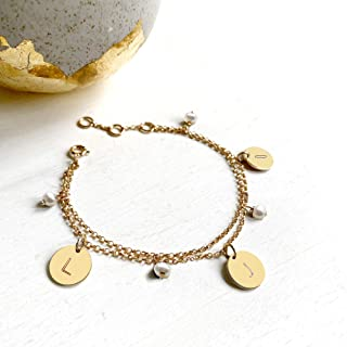 Personalised Gold Bracelet with Initial Discs and Freshwater Pearls