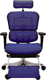 エルゴヒューマン プロ オフィスチェア ブルー オットマン内蔵型 ヘッドレスト付き 3Dファブリックメッシュ ergohuman PRO OTTOMAN EHP-LPL KMD-35