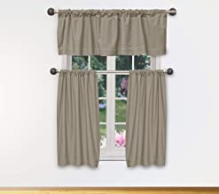 Home Maison - Max Solid Linen Textured Kitchen Tier & Valance Set | Small Window Curtain for Cafe, Bath, Laundry, Bedroom...