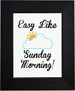 Royal Prints Easy Like Sunday Morning - Sun & Puffy Cloud Framed Print Poster Wall or Desk Mount Options