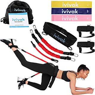 ivivak Resistance Booty Belt with Workout Resistance Band, Program to Target Booty Workout and Lift, Sculpt & Tone- Brazilian Butt Lift Booty Building Band ! Includes Workout Book & Gym Bag