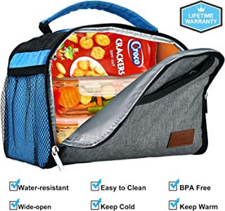 Aofmee Lunch Box for Women Men, Insulated Lunch Bags for Boys Girls, Foldable Water-Resistant Portable Meal Prep Bag for Work School Office Picnic Camping Boating Beach Fishing, Gray Blue
