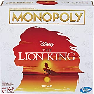 MONOPOLY - DISNEY The Lion King Edition - With Pride Rock Music Unit - 2 to 6 Players - Kids Board Games & Toys - Ages 8+