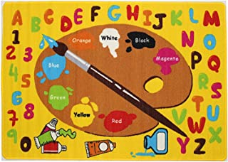 Mybecca Kids Rug Kids ABC Little Artist Area Rug Educational Alphabet Letter & Numbers 8 x 11-Non Slip Gel Backing Size approximate: 7' feet 2