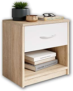 Stella Trading PEPE en chêne Sonoma Optics, blanc-Table de nuit simple avec un tiroir convenant à tous les lits et chambre...
