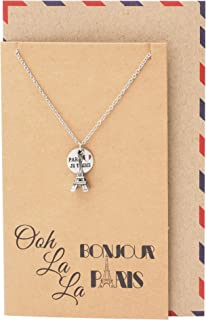 Eiffel Tower Pendant Travel Necklace, Gifts for Travelers, Bonjour Paris Inspirational Card, Anniversary Romantic Gifts for Her