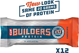 CLIF BUILDERS - Protein Bars - Chocolate - (2.4 Ounce Non-GMO Bars, 12 Count)