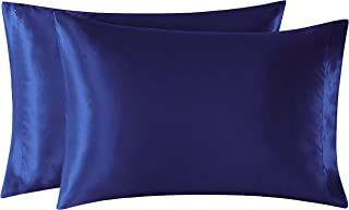 EXQ Home Satin Pillowcases Set of 2 for Hair and Skin King Size 20x40 Navy Blue Pillow Case with Envelope Closure.