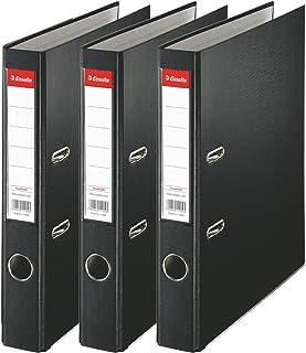 Esselte, Essentials, Pack de 3 Classeurs à levier, Noir, Dos 50mm, A4, PP, 624298