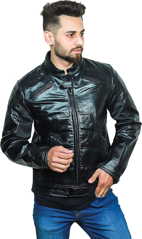 F&H Men's Superhero Genuine Leather Moto Cafe Racer Jacket