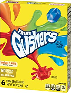 Tropical Flavors Fruit Gushers Fruit Flavored Snacks, 6 Count, 4.8oz