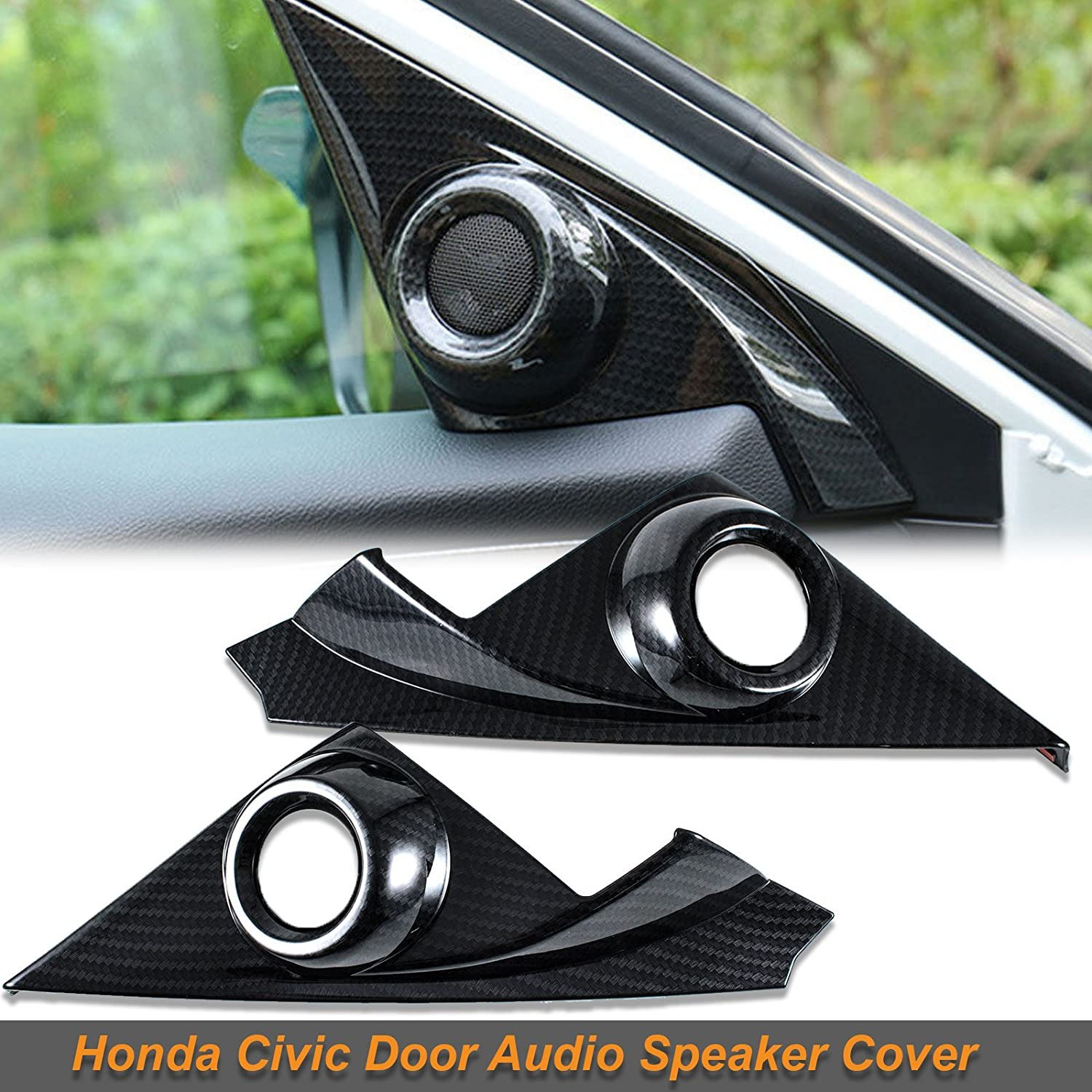 Xotic Tech Carbon Fiber Pattern Door Audio Speaker Covers for Honda Civic 10th 2016-19