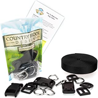 Country Brook Design - 3/4 Inch Deluxe Dog Collar Kit with Black Nylon Webbing