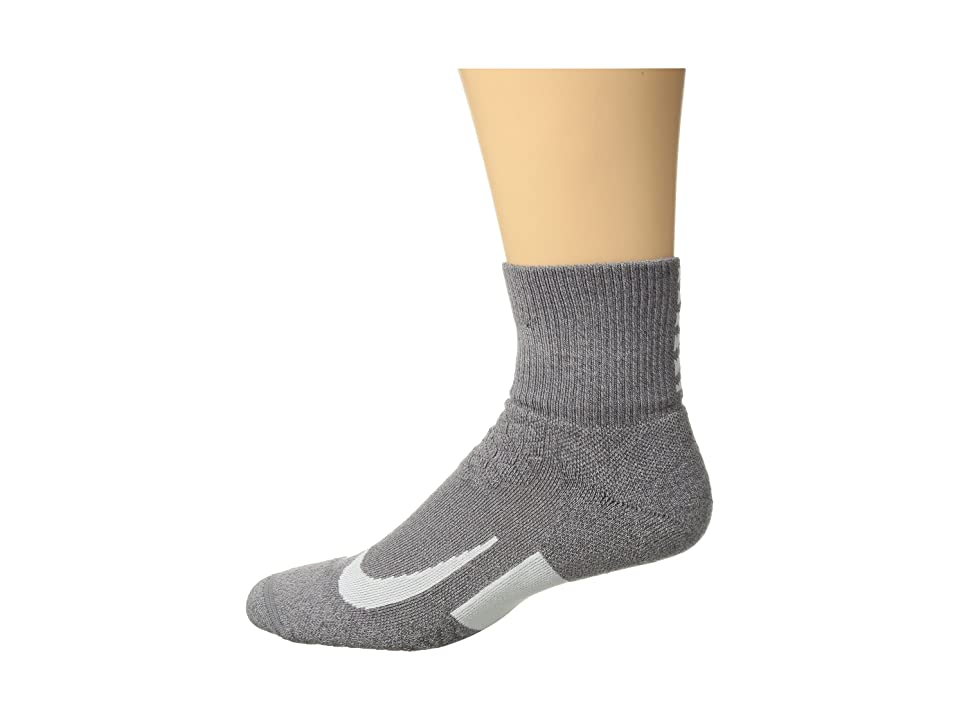 Nike Elite Cushion Quarter Running Socks (Gunsmoke/Atmosphere Grey/White) Quarter Length Socks Shoes