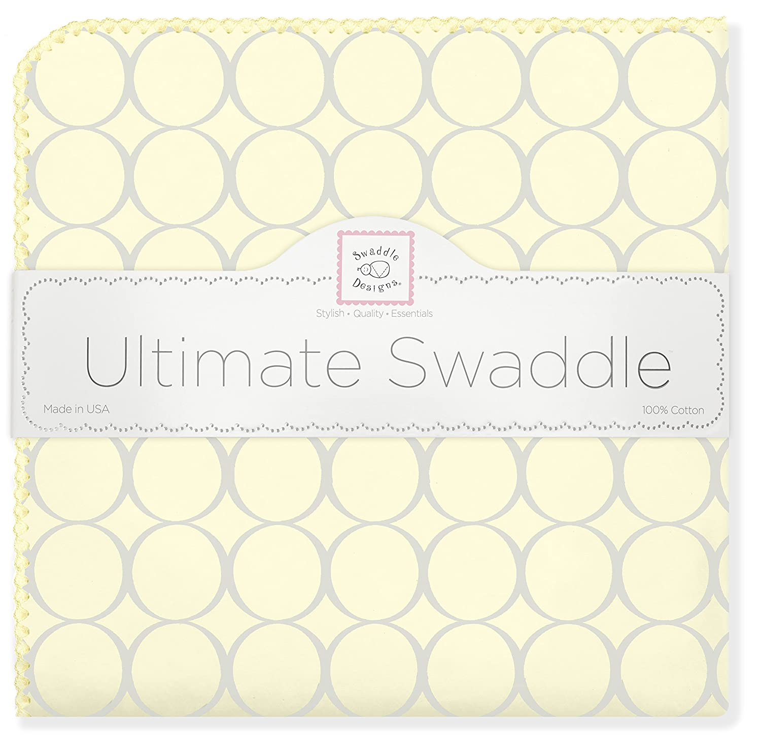 SwaddleDesigns Ultimate Winter Swaddle, X-Large Receiving Blanket, Made in USA, Premium Cotton Flannel, Sterling Mod Circles on Sunwashed Yellow (Mom's Choice Award Winner)