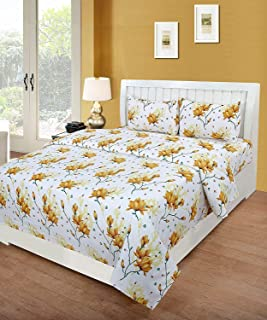 IVAZA Premium 160 TC Polycotton Latest Beautiful 3D bedsheet Double Bed with Two Pillow Covers(Yellow Leaf)