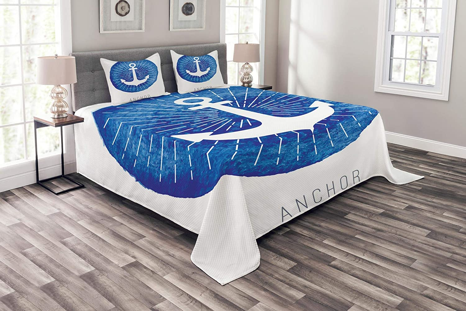 Lunarable Our shop OFFers the best service Nautical Ranking TOP3 Bedspread Symbolic Down to Seab Hooks Anchor