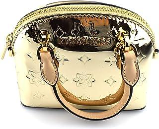 Michael Kors Women's Dome Monogram, Emmy XS Mini Tiny Satchel Cross-body Bag - Metallic Gold