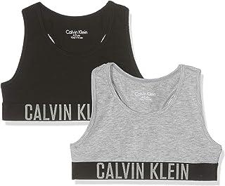Calvin Klein 2 Pack Bralette Corsé, Gris (1 Grey Heather/1 Black 029), Talla única (Talla del Fabricante: 10-12) para Niñas