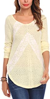 Mofavor Women's Lace Patchwork Split Knit Hollow Loose Sweater Pullover Tunic