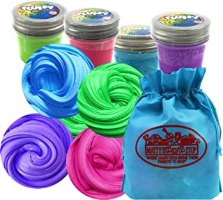 Toysmith Fluffy Slime (Putty) Teal Blue, Pink, Purple & Green Complete Gift Set Bundle with Bonus Matty's Toy Stop Storage Bag - 4 Pack (2.5oz Each)