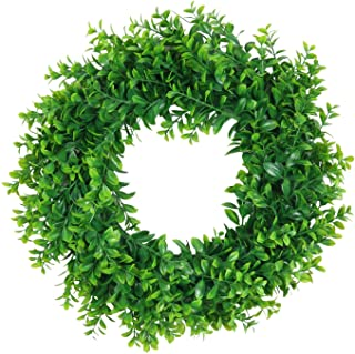 """Pauwer Artificial Green Leaves Wreath 18"""" Boxwood Wreath Farmhouse Greenery Wreath for Front Door Hanging Wall Window Part..."""