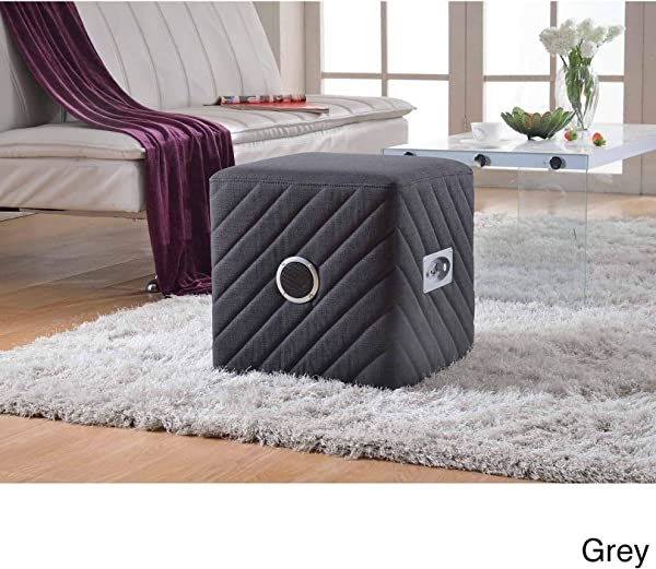 US Pride Furniture Caitlin Fabric Upholstered Ottoman With Bluetooth Speaker Grey