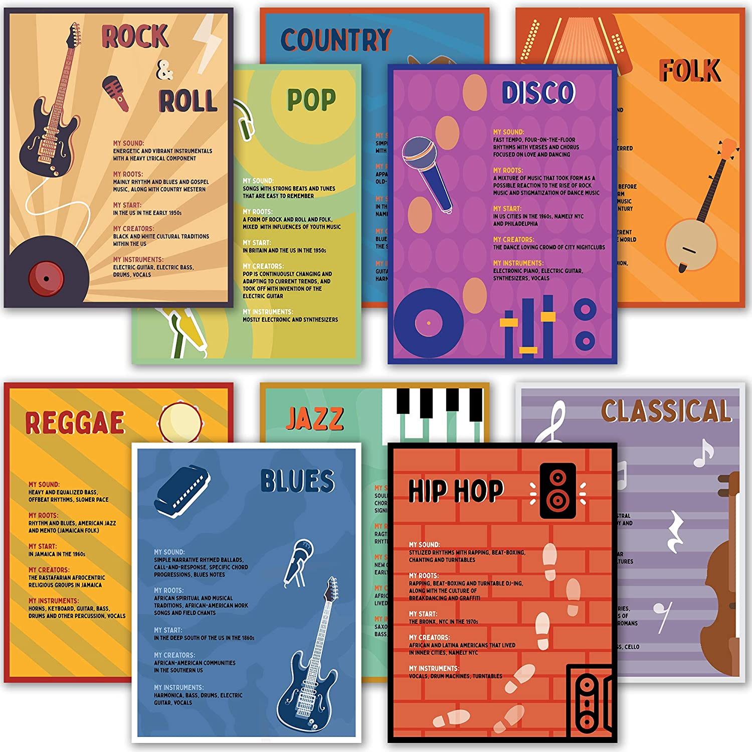 10 Music Genre Posters Super At the price of surprise sale for Classrooms - Decorati Classroom