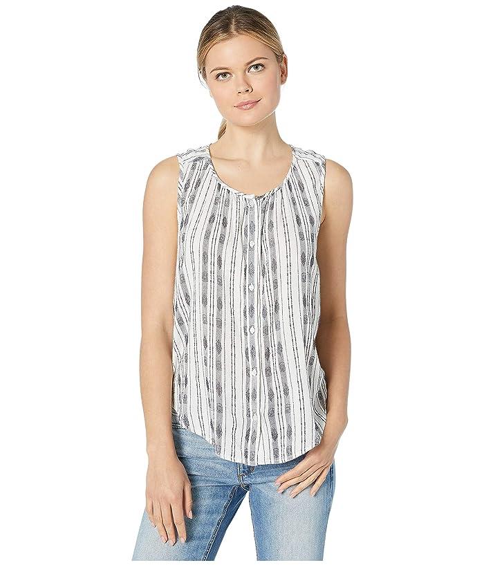 Lucky Brand  Striped Sleeveless Shirt (Natural Multi) Womens Clothing