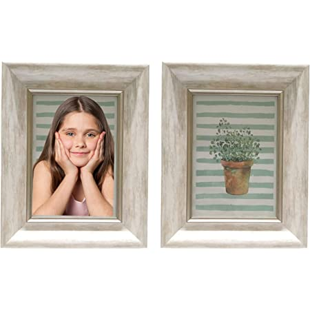 AYOGA: LIVE IN STYLE Smooth Finish, HD Glass Premium Photo Frame for Table with Stand (Ivory, 4x6 Inch) - Set of 2