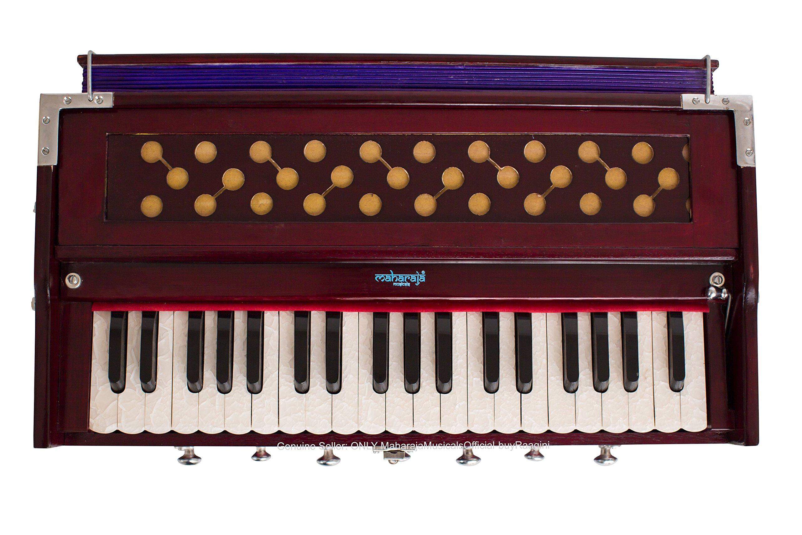 Harmonium #1, Maharaja Musicals, Handmade Harmonium, 3 1/4 Octave (Saptak), 7 Stop, Standing, Coupler, Multi Bellow, Padded Bag, Tuned A440, Dark Mahogany Color, PDI-DB