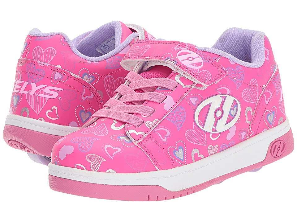 Heelys Dual Up x2 (Little Kid/Big Kid) (Hot Pink/White/Hearts) Girls Shoes