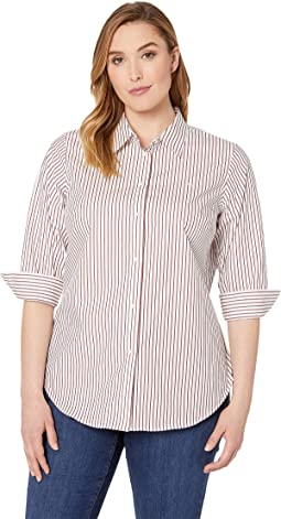 Plus Size No-Iron Striped Button Down Shirt