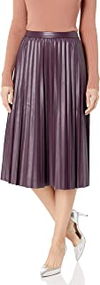 Women's Pleated Faux Leather Skirt