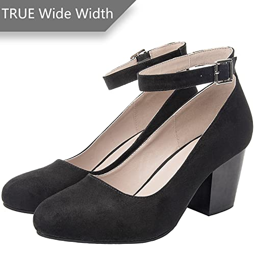 c711d4487da Luoika Women s Wide Width Heel Pump - Ankle Buckle Strap Round Closed Toe  Dressing Shoes.