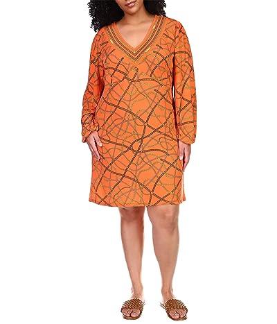 MICHAEL Michael Kors Plus Size Chain V-Neck Border Dress Women
